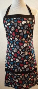 black heart apron with pockets