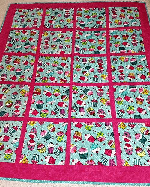 cupcakes lap quilt front