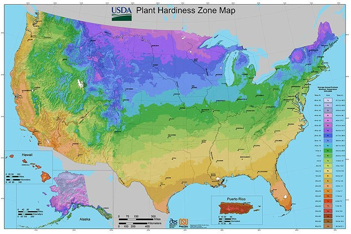 vegetable plant hardiness zone map