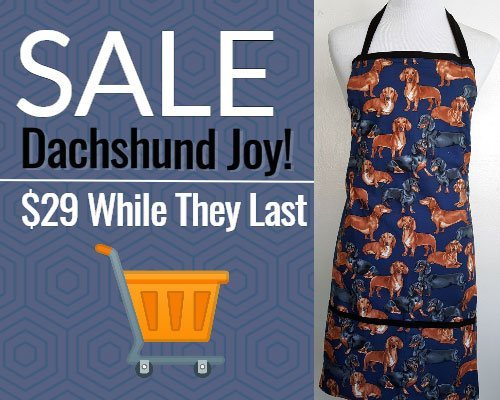 Dachshund Joy apron sale
